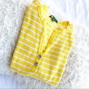 Lauren Ralph Lauren Yellow Stripe V Neck Sweater